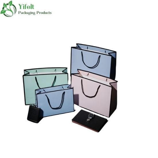 Wholesale White Custom Printed Colorful Packaging Luxury Gift Tote Carrier Paper Bag with Logo Print for Colthing