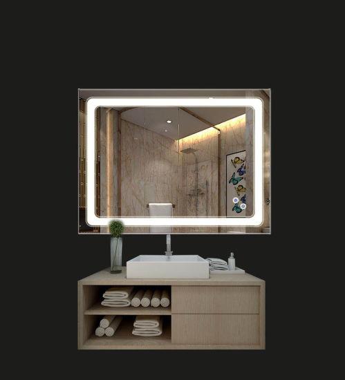 China 800 X 600mm Bathroom Mirrors With Digital Clock Led Illuminated Wall Hanging Rectangle Bath Lighted Mirror China Led Light Led Bathroom Mirror