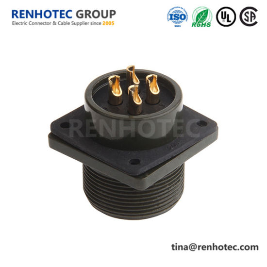 Ms3102A20-4p 4 Pin Panel Mount Receptacle Solder Pin Cable Power Connector