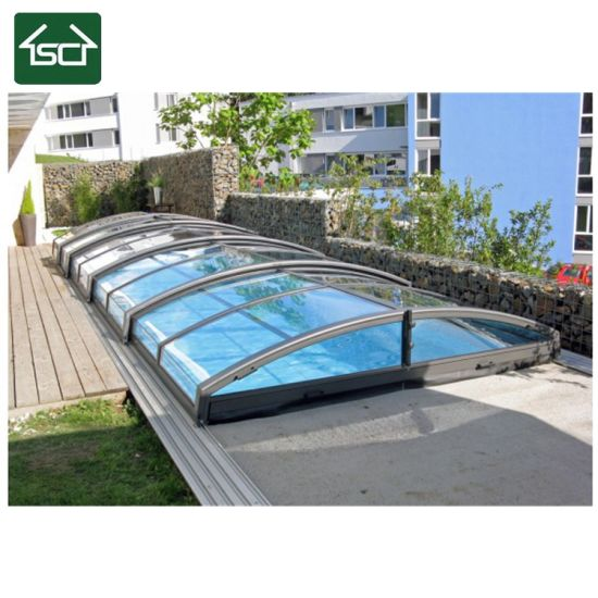 Chinese Wholesale Suppliers Polycarbonate Retractable Swimming Pool Roof /  Pool Shelter