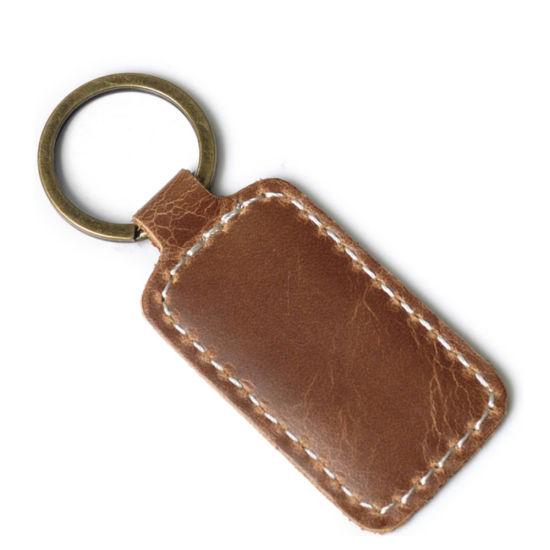 Promotion Custom Logo Handmade Durable Genuine Leather Key Ring