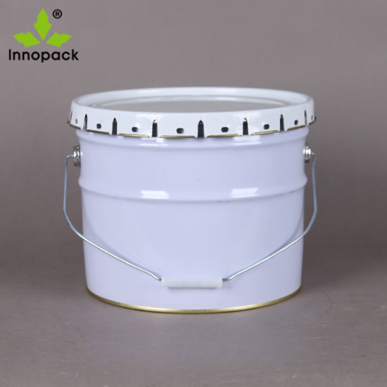 China 2 Gallon Printed Short Metal Bucket With Lid And Handle