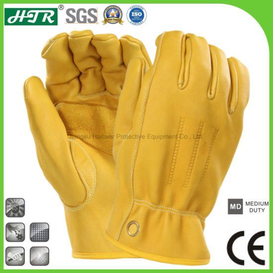 Anti-Slip Leather Abrasion Resistant Soft Sheepskin Mechanical Safety Work Gloves