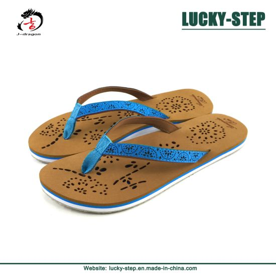 Hot EVA and TPR Women Slippers with Laser Printing