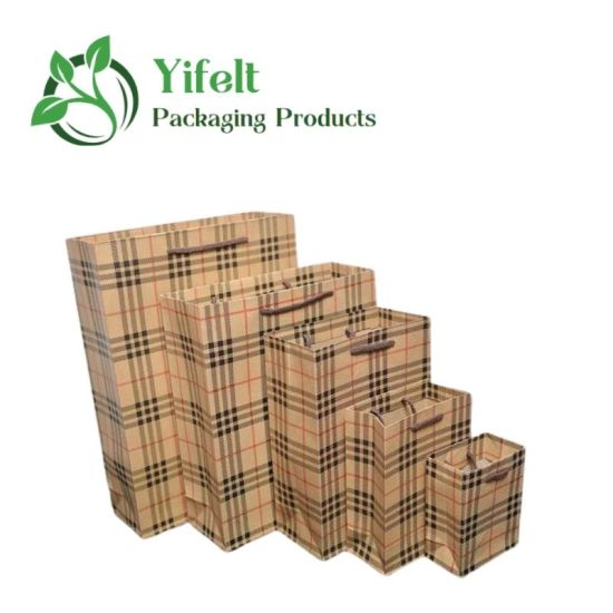 Custom Logo High Quality Thickened Portable Plaid Clothes Gift Packaging Shopping Kraft Paper Bag