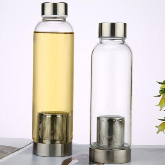 Wholesale 280ml 360ml 420ml 550ml Private Label Eco Friendly Borosilicate Tea Filter Glass Water Bottle with Neoprene Sleeve