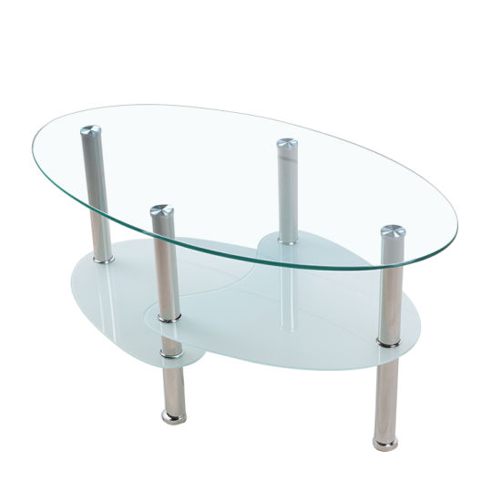 Home Living Room Hotel Restaurant Cheap Modern Oval Stainless Steel 3-Tier Modern Simple Round Square Black Clear Chromed Tempered Glass Center Coffee Table