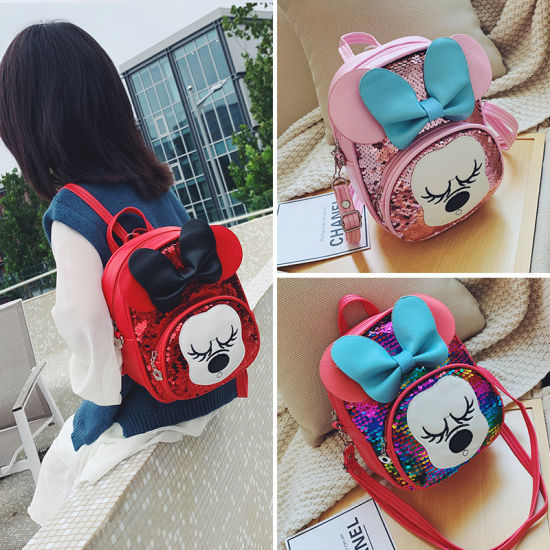 New Bright Face Children Backpack Kindergarten Bag Cartoon Sequins Backpack Girls' Early Education Bag Wholesale