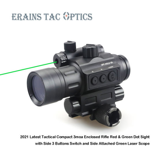 2021 Latest Tactical Compact 3moa Enclosed Rifle Red & Green DOT Sight with Side 3 Buttons Switch and Side Attached Green Aimg Laser Sight