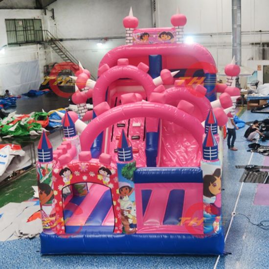 6X3X4m Tropical Water Siide, Good Quality Inflatable Jumping Slides Kids Bouncer Water Slide with Pool