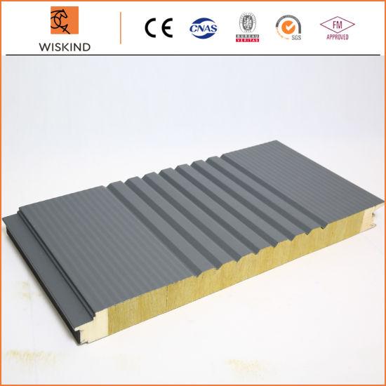 Economic Insulation PU Foam Edge Sealing Rock Wool Sandwich Panel for Workshop/Warehouse/Steel Structure