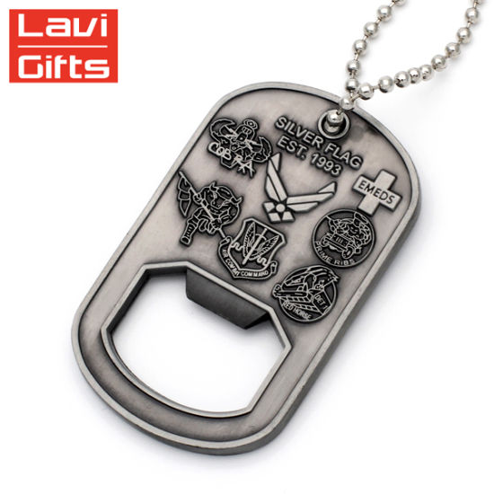 china cheap custom soft enamel brass id name army dog tag bottle