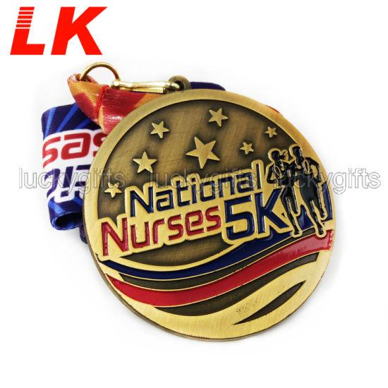 Free Design Custom Enamel Metal Medal with Colorful Ribbon