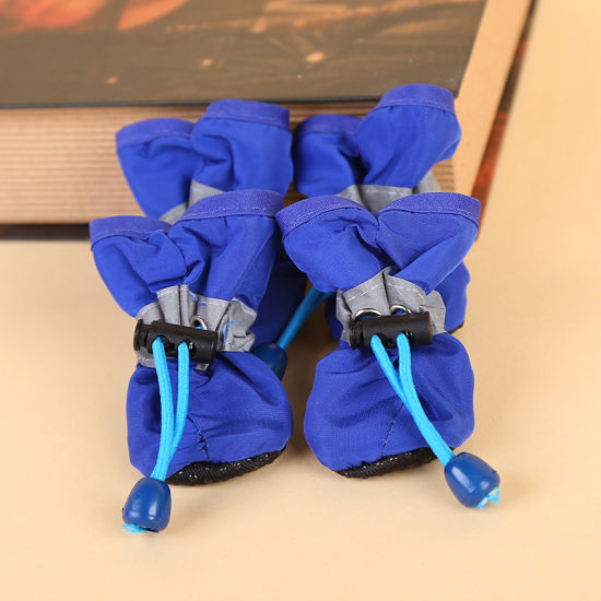 4PCS Waterproof Winter Anti-Slip Rain Snow Dog Boots Pet Dog Shoes