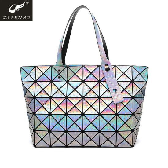 0d448507907a Laser Geometric Lattice Design Tote Bag Women Handbag Guangzhou Factory