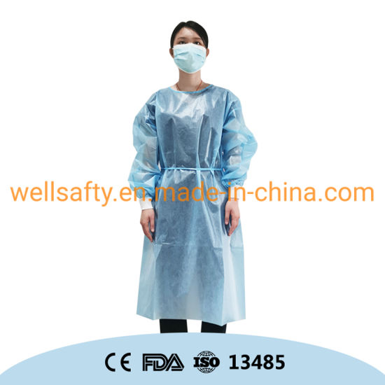 40 50 60 Gram Disposable Gown AAMI Level 3 4 Isolation Gown PP PE SMS CPE Protective Gown ANSI Pb70 White Blue Non Sterile Protective Clothing Suits En14126 CE