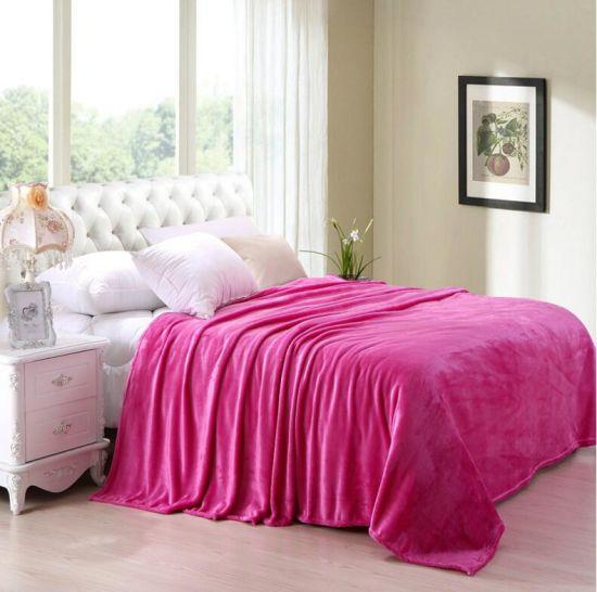 China Promotional Plain Color 100% Polyester Flannel Fleece Blanket ... 5ea5d582c