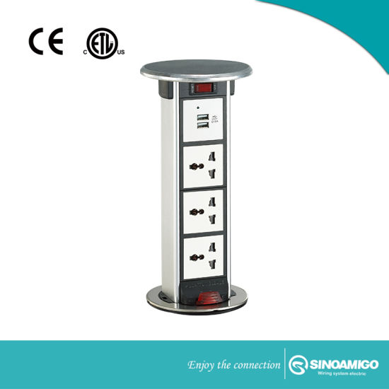Waterproof Kitchen Worktops Pop up Power Tower Sockets with 4.2A USB Charger and Data