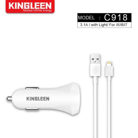 3.1A Dual USB Car Lighter Charger Kit with iPhone Cable
