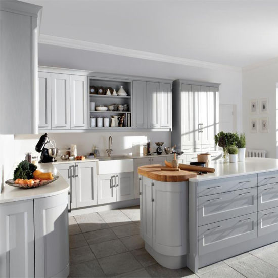 China Modular Solid Wood Kitchen Cabinets Gray Shaker Factory Direct China Home Cupboard Custom Built Cabinets