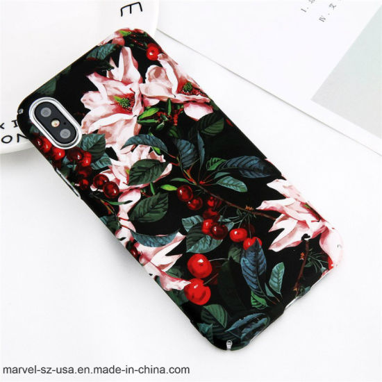 Fashion Flowers Cherry Painting Hard PC Phone Case for iPhone X 8 Plus Cover