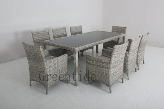 China Outdoor Patio Furniture Rattan Dining Table Sets 9pcs China