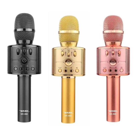 Original Wk868 5W Wireless Microphone Condenser Magic Karaoke Microfono Mobile Phone Player Mic Music Speaker Pk Ws858