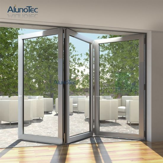 China High Quality Double Tempered Glass Folding Door Price China