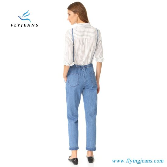 Elastic Waistband Long Jeans Ladies Denim Overalls pictures & photos