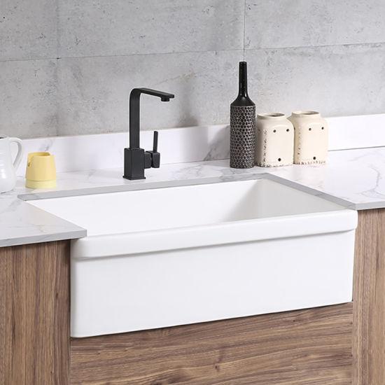 China New Single Ceramic Bowl Porcelain Kitchen Design Farmhouse Apron Front Sink Bathroom Basin China Bathroom Basin Ceramic Basin