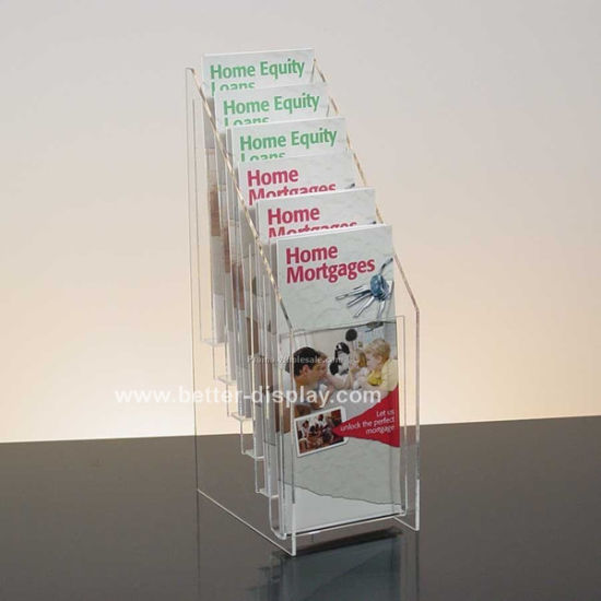 Custom Acrylic 1/3 A4 Brochure Holder with 5 Pockets (BTR-H6037)