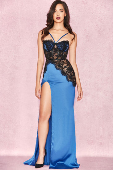 Blue Evening Dress Sexy Dress Bandage Dress Maxi Dress with Black and Blue  Prom Dress e6ec3df99