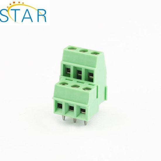 China Screw Terminal Block Connector 3 5mm 3 Pin Way Green Pluggable