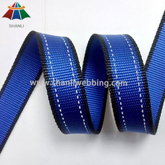 1-1/8 Inch Striped Reflective Webbing with Two Reflective Stripe