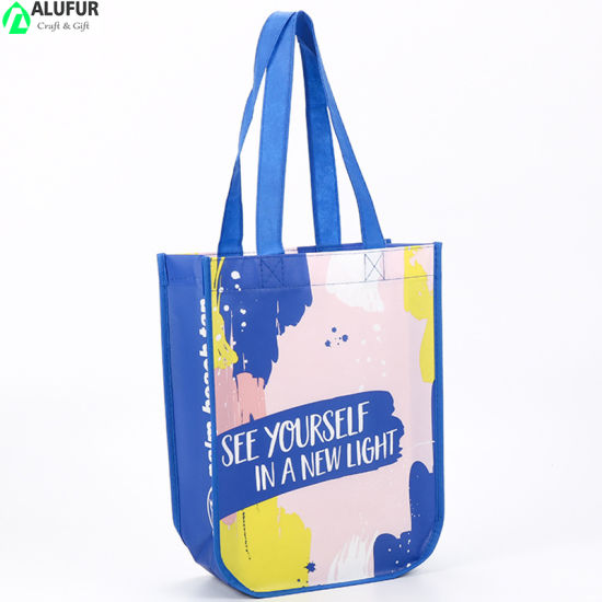 Printed Laminated Nonwoven Polypropylene Tote Bags with Round Bottom