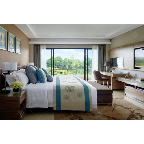 China New Design Bedroom Set in High Gloss Finished Hotel Furniture
