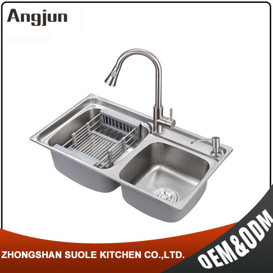 R30 Corner Easy Clean Stainless Steel 304 Sink With Sound Deadening Pad