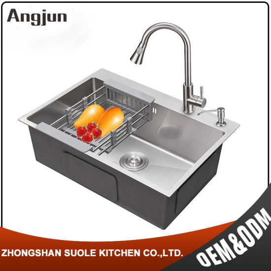 Direct Sell Handmade Brushed Industrial Kitchen Stainless Steel Sink