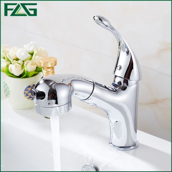 Flg Single Handle Brass Chrome Pull out Bathroom Faucet