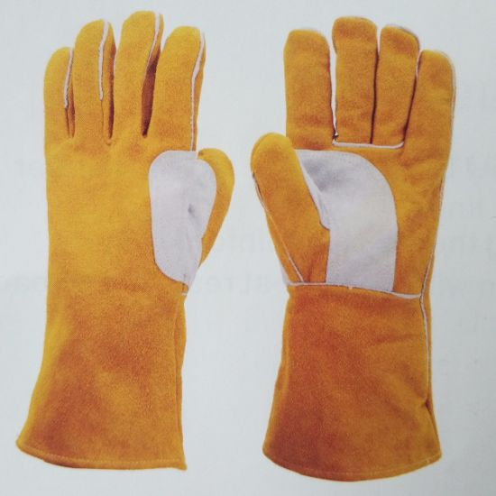 Yellow Cowhide Leather Gloves Fks06 pictures & photos