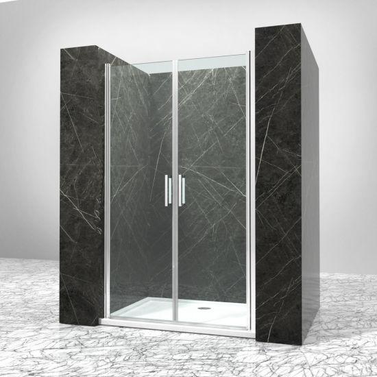 China Bathroom Two Piece Tempered Glass Double Swing Shower Door - Bathroom glass door price