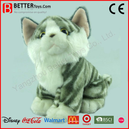 3a3f63af9f46 China En71 Realistic Soft Stuffed Animal Grey/Ginger Tabby Plush Toy ...