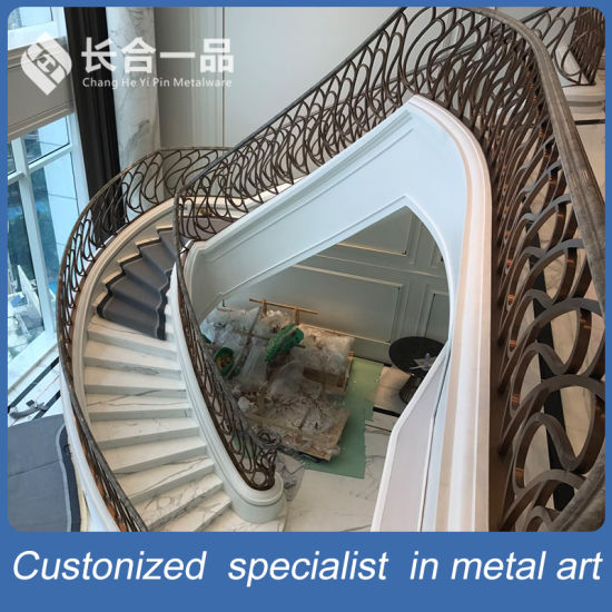 Modern New Style Wroutht Iron Stair Railing Balustrade For Luxury Villa