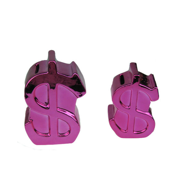 China Four Color Ceramic Us Dollar Sign Coin Bank for Desktop Gift