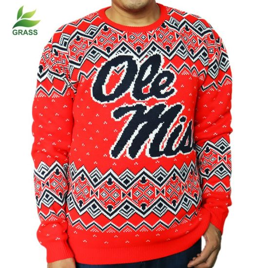 Low MOQ Red Custom Men Christmas Ugly Pullover Sweater