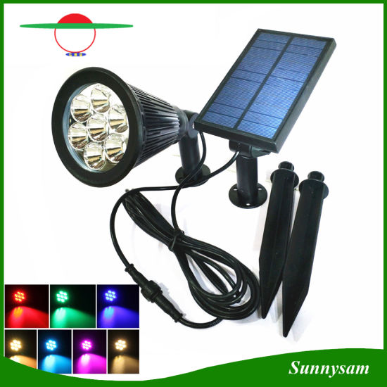 China outdoor decorative lighting 7 led color changing solar spot outdoor decorative lighting 7 led color changing solar spot light with separated panel and light mozeypictures Image collections