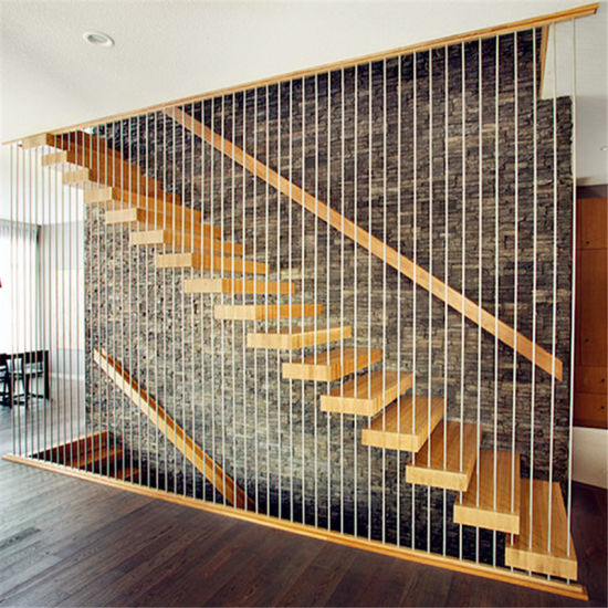 Modern Indoor Safe Wood Floating Stairs Stainless Steel Handrail Stair