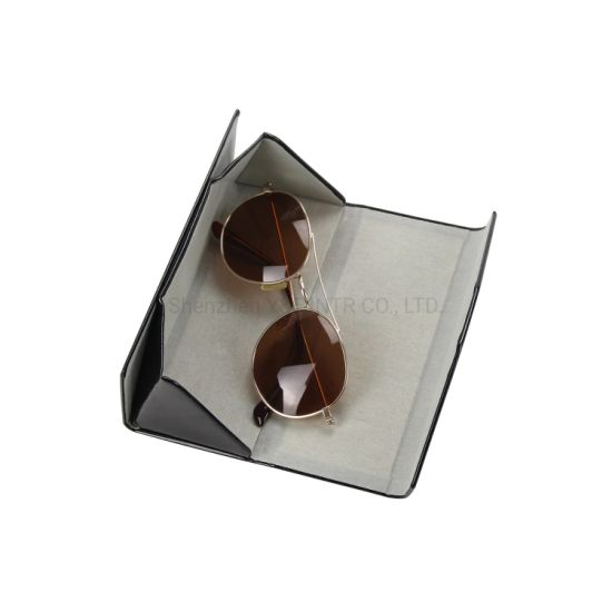 Custom Logo Triangle Folding Glasses Case Custom Printing Logo PU Protective Sunglasses Case