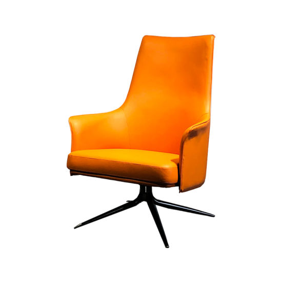 High Back Wing Armrest Swivel Office Chair Study Room Hotel Leather Chair