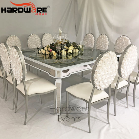 China Lxury Mirror Glass 12 Seater Mirror Glass Top Dining Table Set China Triangle Glass Dining Table Cheap Table And Chair Rentals